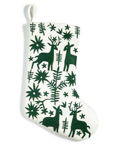 Holiday Lane Deer /& Foliage Green Appliqu/é Stocking