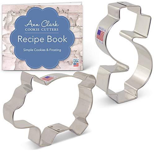 Sweet Savings Cookie Cutter Set with Recipe Booklet - 2 piece - Dollar Sign & Piggy Bank - Ann Clark - USA Made Steel Dollar Sign Cookie Cutter