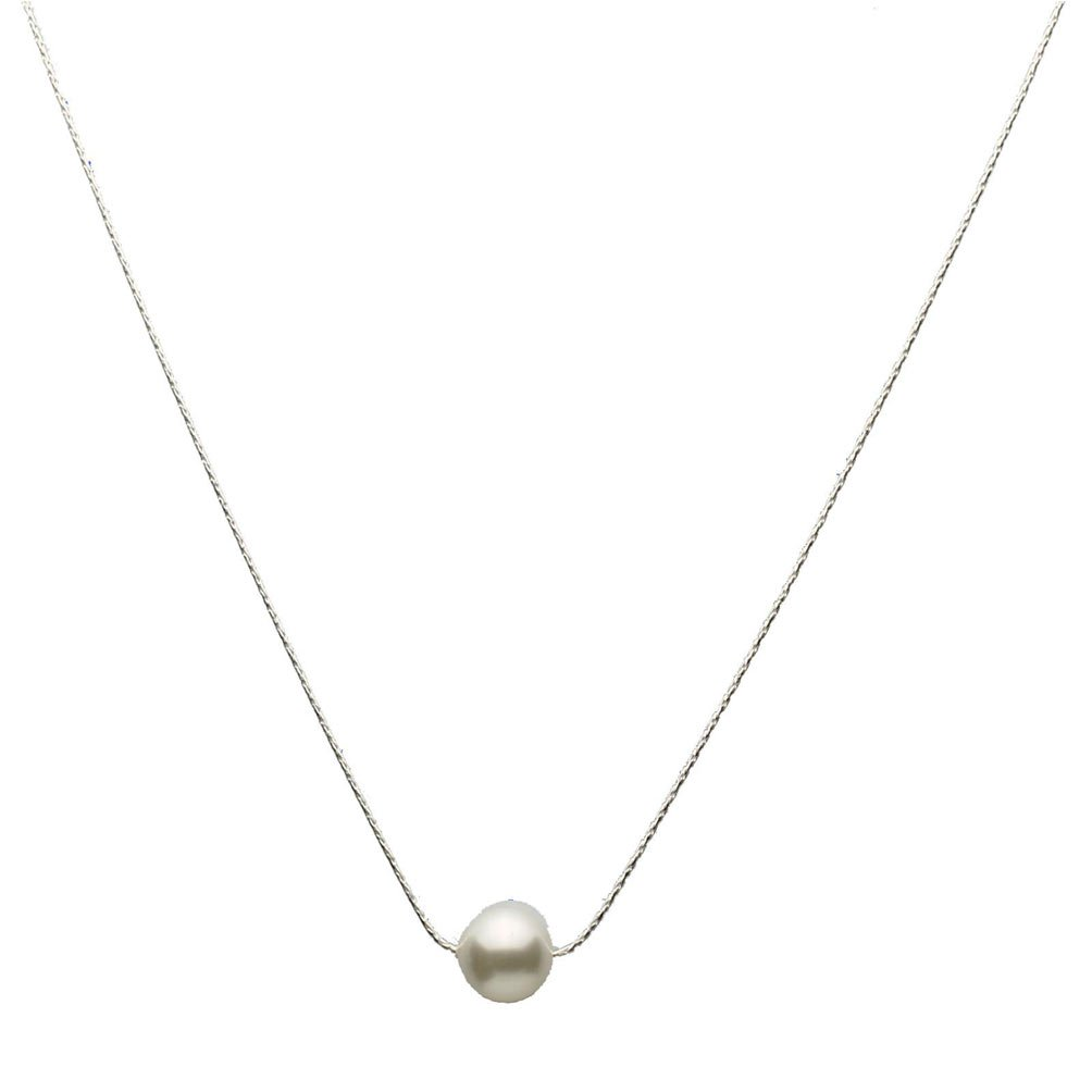 Sterling Silver Chain Round 10mm Simulated Pearl Necklace 16''+2'' Made with Swarovski Crystals
