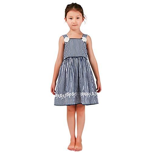Amerla Little Kids Girls Spring Summer Straps Dress Navy White Stripes with Embroidered Hem 3-7 Years -