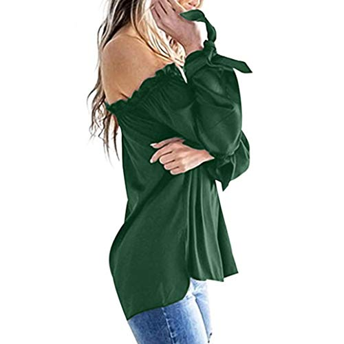 Invierno Largo Camiseta Manga Hombro Fr¨ªo Bestow Blusa Casual T¨²nica Top De Verde Barco Cuello Larga Mujer gx5wB6q