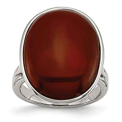 Ring Stone Agate (ICE CARATS Stainless Steel Red Agate Size 6 Band Ring Stone Natural Fashion Jewelry Ideal Gifts For Women Gift Set From Heart)