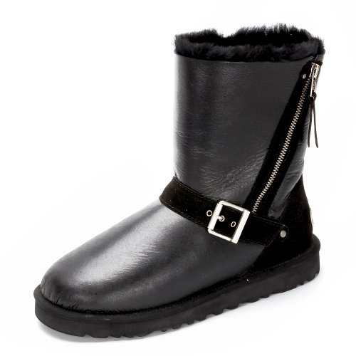Ausland Men's Sheepskin Zip Up Mid-Calf Winter Boots 10888 Black 8.5US 42 (Boots Men Sheepskin)