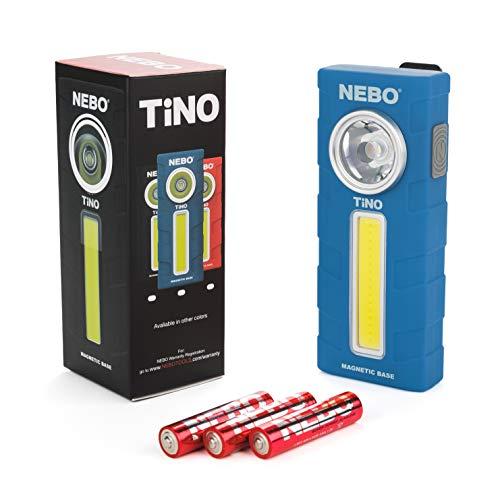 300-Lumen LED Work Light Flashlight: Durable Pocket Sized Magnetic Flashlight Featuring 2 Light Modes, A Pocket Clip, Hanging Hook and Magnetic Base - NEBO TINO 6809 - Blue