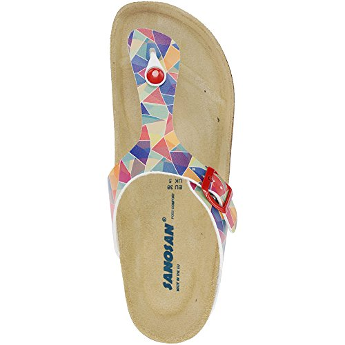 Sanosan Geneve Art Ladies Toe Post Sandals Retro White cKMh7mBvF