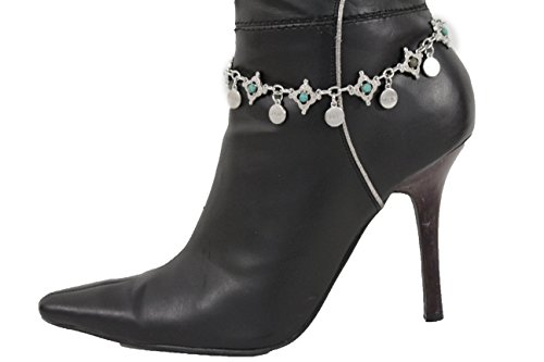 TFJ Women Western Boot Chain Bracelet Silver Faith Dream Love Imagine Dream Wisdom Shoe (90s Tv Halloween Costumes)