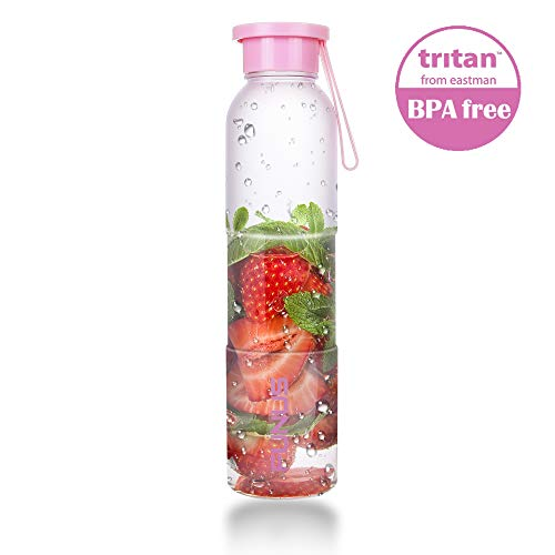 16oz Water Bottle with Cap Dishwasher Safe US Eastman Tritan Fruit Water Bottle for Drinking Smoothies Yoga Gym Office School BPA Free Durable Leak Proof Portable Hydrate Water Bottle