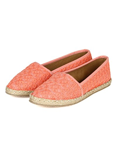 Qupid CA89 Women Daisy Embossed Fabric Espadrille Slip on Flat - Coral FjSJ8k