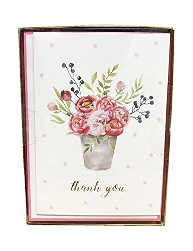 Thank You Cards Set 15 Cards with Envelopes Blank Inside Bouquet of ()