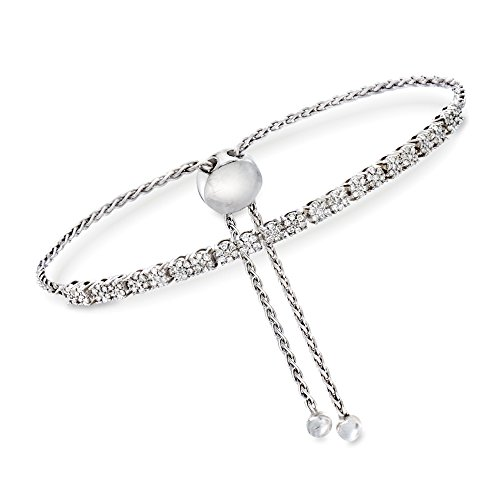 Diamond Toggle Bracelet - Ross-Simons 0.50 ct. t.w. Diamond Cluster Bolo Bracelet in Sterling Silver