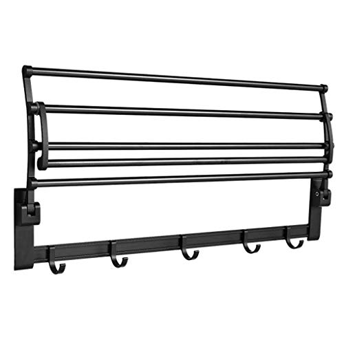 Aluminum Towel Rack Black Folding Punchless with Hooked Bathroom Balcony (Size : 40cm)