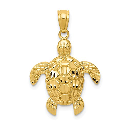14k Yellow Gold Sea Turtle Pendant Charm Necklace Life Man Fine Jewelry Gift For Dad Mens For Him