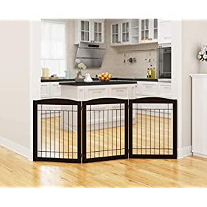 PAWLAND Wooden Freestanding Foldable Wire Pet Gate for Dogs, 4 Panel | 3 Panel Step Over Fence, Dog Gate for The House, Doorway, Stairs, Extra Wide and Tall Pet Puppy Safety Fence | Fully Assembled 90