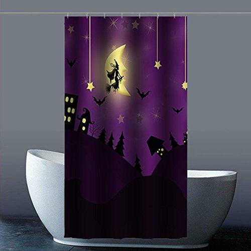 costumbre Halloween Bruja de Halloween bruja ducha cortina Shower Curtain resistente al agua poliéster fábrica para baño 90 zentimeters X 183 zentimeters, ...