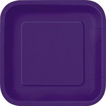 Square Dark Purple Paper Plates 14ct  sc 1 st  Amazon.com & Amazon.com: Square Dark Purple Paper Plates 14ct: Kitchen u0026 Dining