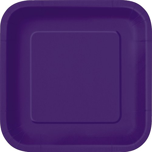 - Square Dark Purple Paper Plates, 14ct