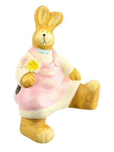 Bunny Rabbit Baby Shower Cake Topper Figurine - Bonus Cupcake Recipes - Accent Bookshelves Window Sills Mantles Shelf Sitter - Infant Nursery Decoration