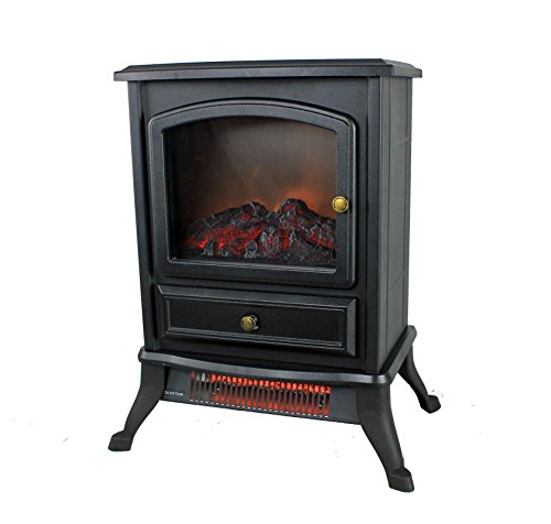 Warm Living 1000W Electric Infrared Space Stove Fireplace Heater, Black Infrared Heaters Warm Living