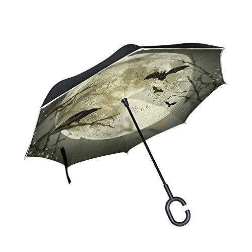 Halloween Style Moon Atmosphere Inverted Umbrella, Double Layer Reverse Umbrella for Car and Outdoor Rain & Sun for $<!--$34.99-->