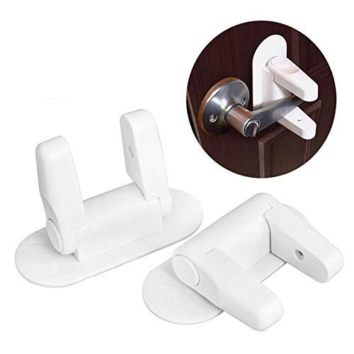 Foonee Door Lever Lock (2 Pack) Child Proof Doors & Handle Safety Lock Child Proof Doors Handles with 3M Adhesive