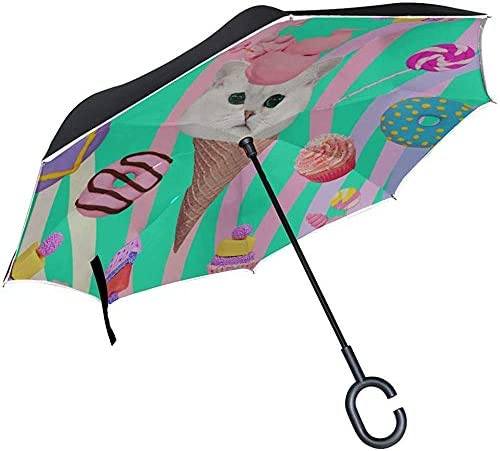 Alice Eva Umgekehrter Regenschirm Starker Taschenschirm Trendy Kreative Mode Malerei Umkehrregenschirm Tragbarer Umkehrregenschirm