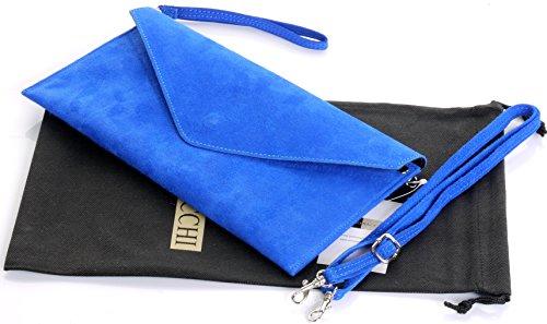 royal protecteur cuir en Bleu poignet à marque italien la daim sac main de bandoulière sac rangement fabriqué enveloppe un épaule ou Embrayage de nbsp;Comprend Design q1Sg7p