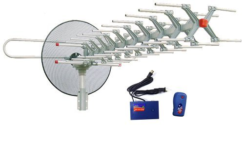 Outdoor HDTV Antenna with Motorized 360 Degree Rotation, UHF/VHF/FM Radio with Infrared Remote Control