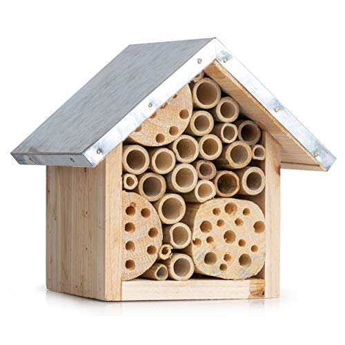 Natural Bee Hive House for Outdoor Garden - Attracts Native Pollinator Bees Like Mason, Solitary, Carpenter, Orchard, Honey and Ladybugs - Insect Habitat Starter Kit