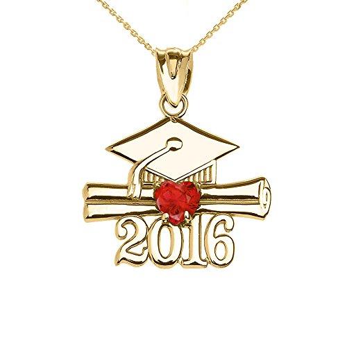 Collier Femme Pendentif 14 Ct Or Jaune Cœur Juillet Pierre De Naissance Rouge Oxyde De Zirconium Classe De 2016 Graduation (Livré avec une 45cm Chaîne)