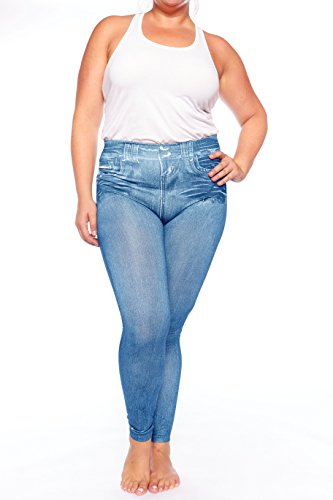 Crush Womens High Waist Seamless Printed Denim Leggings Pants 2X 3X Large Blue
