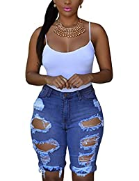 Womens Casual Denim Destroyed Bermuda Shorts Jeans