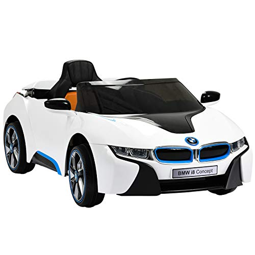 Uenjoy BMW i8 12V Ride on Children's Electric Car Motorized Cars for Kids W/Remote Control, Suspension, Mp3 Player, Compatible with BMW, White ()