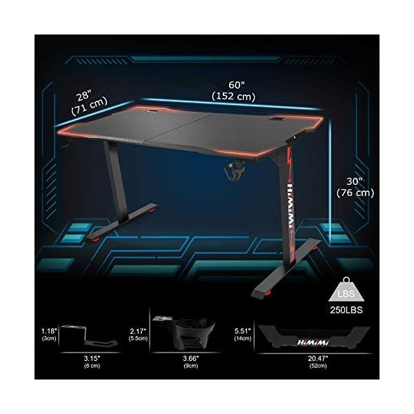 "Himimi 60"" Bureau Gaming, 152 x 71 x 76cm Ergonomic Bureau Gamer Bureau Gaming PC, Gaming Desk Informatique Table de…"