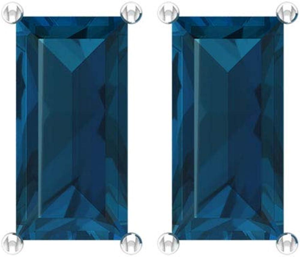 Pendiente de topacio azul de Londres con certificado SGL de 2,88 CT, oro de 14 K antiguo conjunto de puntas de piedra preciosa, pendientes personalizados de piedra natal, tornillo hacia atrás