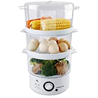 Ovente FS53W 7.5-Quart 3-Tier Electric Vegetable and Food Steamer, White
