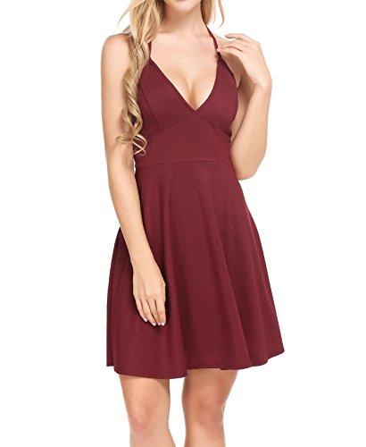 Burlady Women Sexy V-Neck A-Line Back Cross Shining Color Cami Dress