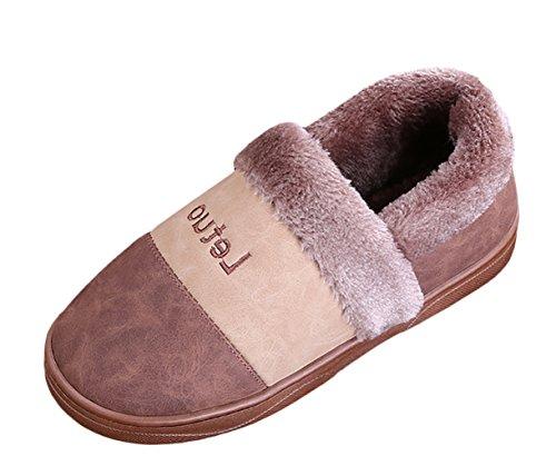 Hiver Chaussons Slipper Insun Hommes Shoes Pantoufles Femmes Marron Peluche House Et Chaud ZqXzY6q