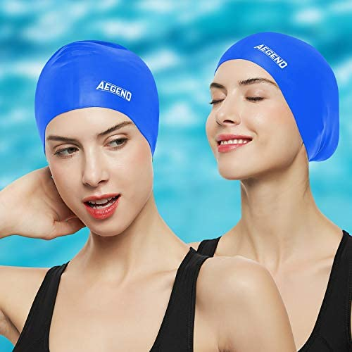 Aegend Swim Caps for Long Hair (2 Pack), Durable Silicone Swimming Caps for Women Men Adults Youths Kids, Easy to Put On and Off, 4 Colors