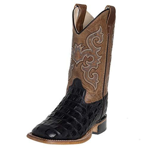 Old West Kids Boots Unisex Black Croc Print Square Toe Boot (Toddler/Little Kid) Black 11 M US Little Kid