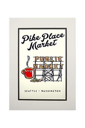 Seattle, Washington - Pike Place Market Sign (11x14 Double-Matted Art Print, Wall Decor Ready to Frame) ()