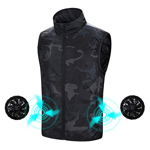 Men's Quick Dry Anti-UV Vest Tops, Built in Cooling Fan Sleeveless Outdoor Sun Protection Clothing for Summer Outdoor Events, Like Camping Hiking Cycling Fishing Travel, Black ()