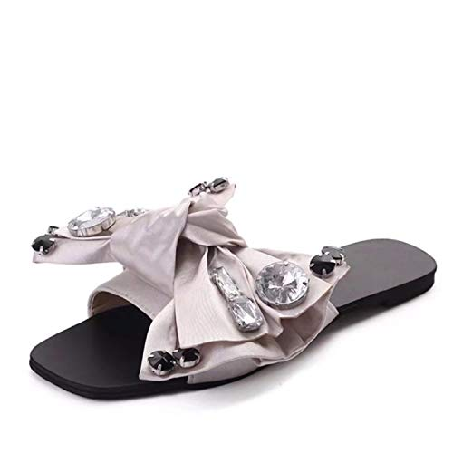 entertainment-moment Crystal Bowie Slippers Sandals Women Shoes Summer Peep Toe Women Slides Ladies Outdoor Party Leather Flats,Silver,6 ()