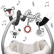 Euyecety Hanging Rattles Toys White & Black Stroller Toy, Newborn Toys Infant Toys Crib Toys, Soft Plush f