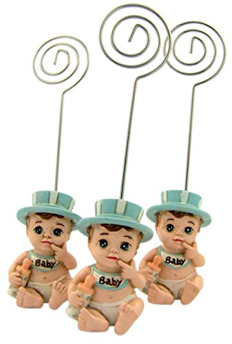 Baby Boy Figurine Place Card Photo Holder for Baby Shower or Gender Reveal Party, Set of 3