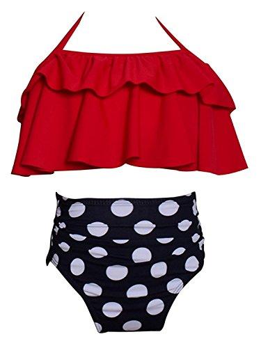 KABETY Girls Swimsuit Two Pieces Bikini Set Ruffle Falbala Swimwear Bathing Suits (Red, 2-3 ()
