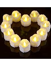 LED Flameless Tea Lights, Ymenow Set of 12 Pillar Flickering Battery Operated Candles with 6 Hours Auto Timer Electric Fake Tealights for Home Room Party Festival Decoration - Warm White