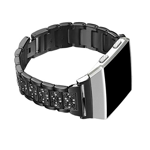(EPYSN Replacement Bands Compatible with Fitbit Ionic,Metal Bracelet Jewelry Bangle with Bling Rhinestone Accessories Black)