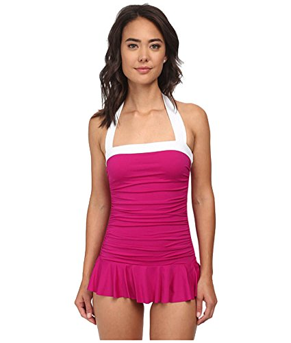 Lauren by Ralph Lauren Women's Bel Aire Solids Shirred Bandeau Skirted Mio Slimming Fit One-Piece Pink Hibiscus Swimsuit 14