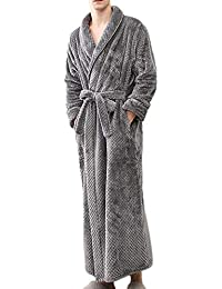 Mens Womens Fleece Bathrobe with Hood Lovers Cozy Long Robe Full Length Big  and Tall Home 67d224cf8