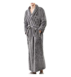 Hot Sale Men s Bathrobe Bath Robe Plus Size Loungewear Winter Sleep Bottoms  Pajama Set Nightwear YOcheerful(Blue 8b217630b